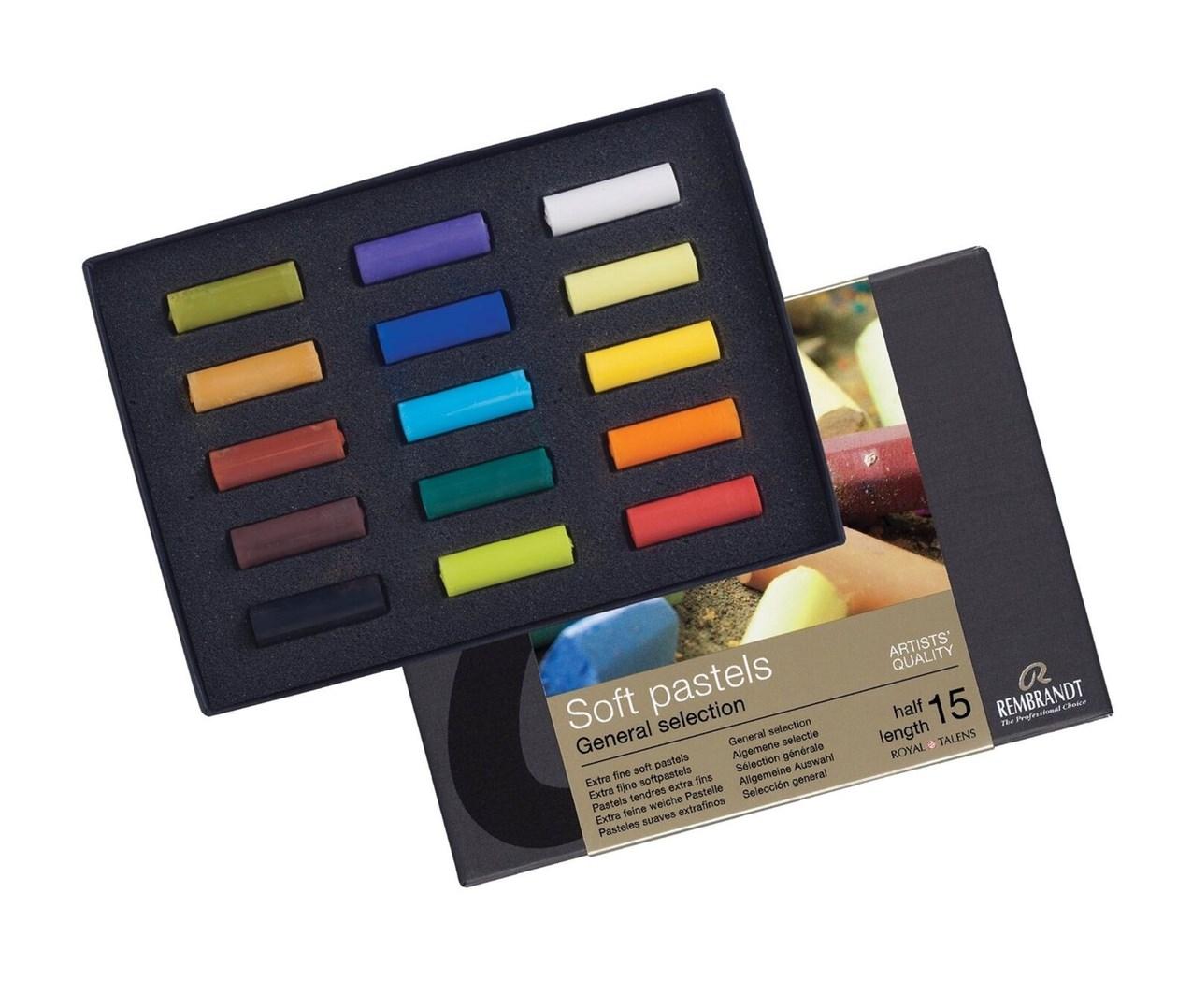 Royal Talens, 31823108, Rembrandt Pastel, sada suchých pastelů, poloviční, 15 ks