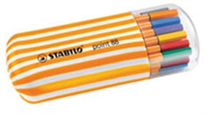 Liner Point 88 Twister Zebrui, 0,4 mm, oválný plastový obal, 20 barev