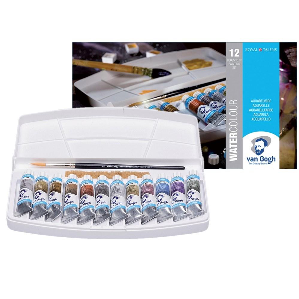 Royal Talens, 20800212, Van Gogh, sada akvarelových barev, 12 x 10 ml tubičky, metallic a pearl odstíny