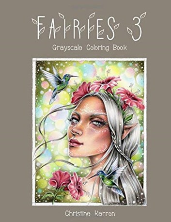 Fairies 3, grayscale colouring book, Christine Karron