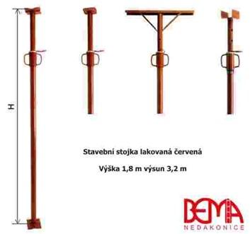 Stavební stojka lakovaná červená výška 1,8m - výsun až - 3,2 m