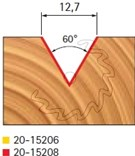 Stopková fréza na dřevo drážkovací V FREUD 2015208 - profil frézování