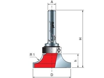 Stopková fréza na dřevo rádiusová vydutá FREUD 2320008 R=6,35 A=8