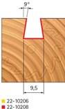 Stopková fréza na dřevo rybinová FREUD 2210208 - profil frézování