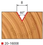 Stopková fréza na dřevo drážkovací V FREUD 2016008 - profil frézování