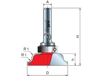 Stopková fréza na dřevo rádiusová vydutá FREUD 2310008 R=4,0 A=8