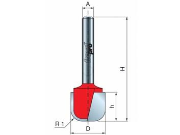 Stopková fréza rádiusová do plochy FREUD 19-10608 R=6,35 stopka=8