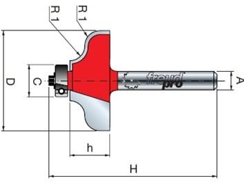 Stopková fréza tvarová s ložiskem FREUD 3820208 D=31,8 h=12,7 A=8