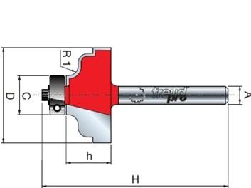 Stopková fréza tvarová s ložiskem FREUD 3840208 D´=31,8 h=15,0 A=8