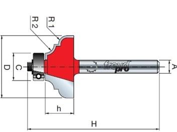 Stopková fréza tvarová s ložiskem FREUD 3860208 D=28,6 h=12,7 A=8