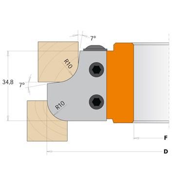 Nůž pro F612-308 - R3 25x23x2mm