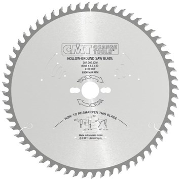 CMT Indutrial C287 Pilový kotouč na lamino bez předřezu - D250x3,2 d30 Z48 HM -6°Neg