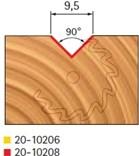 Stopková fréza na dřevo drážkovací V FREUD 2010208 - profil frézování