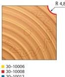 Stopková fréza na dřevo rádiusová vypouklá FREUD 3010008 - profil frézování