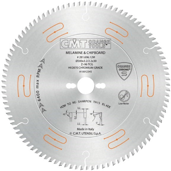CMT CHROME Pilový kotouč na lamino, DTD a MDF - D300x3,2 d30 Z96 HM