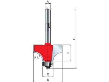 Stopková fréza na dřevo rádiusová vydutá FREUD 3410408 R=3,2 A=8