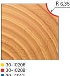 Stopková fréza na dřevo rádiusová vypouklá FREUD 3010208 - profil frézování