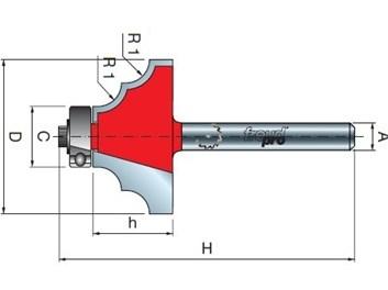 Stopková fréza tvarová s ložiskem FREUD 3890008 D=32,7 h=15,0 A=8