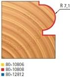 Stopková fréza na dřevo rádiusová půlkruhová FREUD 8010808 - frézovaný profil