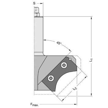 Zaoblovací fréza RAPIDO - tělo R25-30 F120 L50 S=25x55 bez žiletek