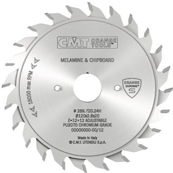 CMT CHROME Předřezový kotouč dvoudílný - D125x2,8-3,6 d20 Z12+12 HM
