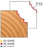 Stopková fréza na dřevo rádiusová vypouklá FREUD 3030408 - profil frézování