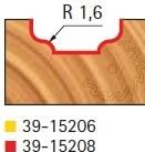 Stopková fréza tvarová bez ložiska FREUD 3915208 - profil frézování