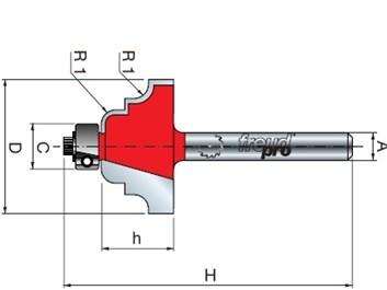 Stopková fréza tvarová s ložiskem FREUD 3830608 D=29,4 h=13,5 A=8