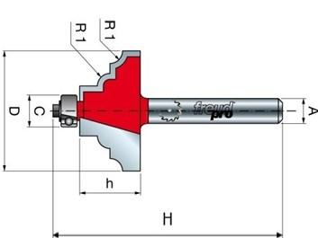 Stopková fréza tvarová s ložiskem FREUD 3880208 D=36,7 h=16,5 A=8
