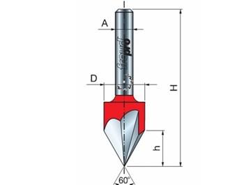 Stopková fréza na dřevo drážkovací V FREUD 2015408 D=12,7 A=8 α=60°