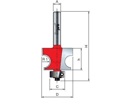 Stopková fréza na dřevo rádiusová půlkruhová FREUD 8010808 - ložisko