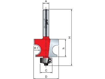 Stopková fréza na dřevo rádiusová půlkruhová FREUD 8010808 R=7,1 A=8 ložisko
