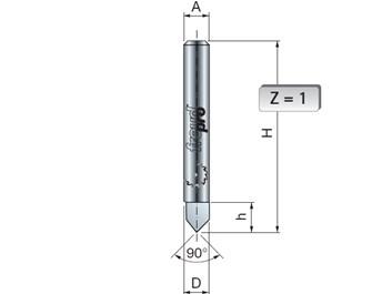 Stopková fréza na dřevo drážkovací V FREUD 2010008 D=6  h=6 A=8 α=90°