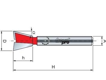 Stopková fréza na dřevo rybinová FREUD 2210408 D=12,7 α=14º A=8