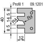 Výměnné břitové destičky pro frézu na nábytkové dveře KARNED 8152/S - Profil č. 1