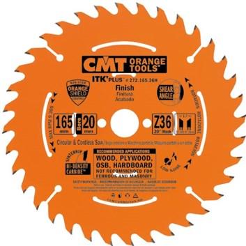 CMT ITK Ultra tenký kotouč pro AKU pily - D165x1,7 d20(+15,87) Z36 HM příčný řez