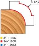 Stopková fréza na dřevo rádiusová vydutá FREUD 3411608 - frézovaný profil