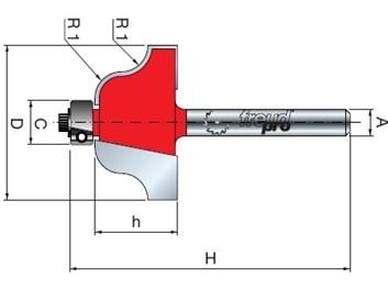 Stopková fréza tvarová s ložiskem FREUD 3810208 D=35 h=18,5 A=8