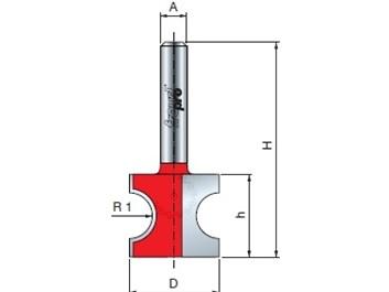 Stopková fréza na dřevo rádiusová půlkruhová FREUD 8210608 R=6,35 A=8