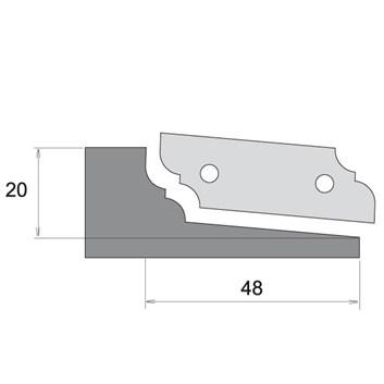 Profilový nůž pro výplňovou frézu F631 - typ A, spodní braní