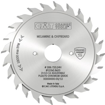 CMT CHROME Předřezový kotouč dvoudílný - D100x2,8-3,6 d20 Z10+10 HM