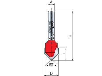 Stopková fréza na dřevo drážkovací V FREUD 2010408 D=12,7 A=8 α=90°